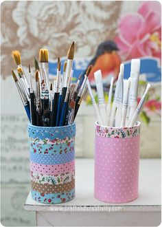 Pen holders covered with self-adhesive fabric - by Craft  Creativity