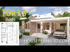 Simple House Design Plans with 3 Bedrooms Full Plans - House Plans Simple House Plans, My House Plans, Simple House Design, Bedroom House Plans, Modern House Plans, House Floor Plans, House Layout Plans, House Layouts, Flat Roof House