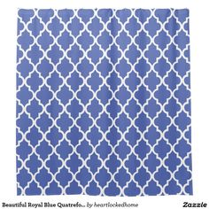 Beautiful Royal Blue Quatrefoil Pattern Shower Curtain