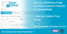 Bulk Edit WooCommerce Products and Posts in Spreadsheet - WP Sheet Editor - https://codeholder.net/item/wordpress/wp-sheet-editor-bulk-spreadsheet-editor-for-wordpress-posts-and-products