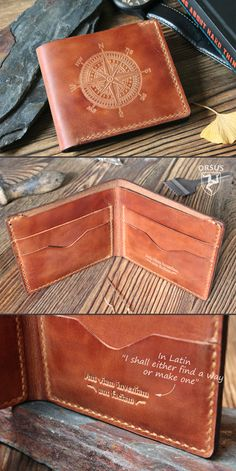 Wallet compass, Mens wallet, perfect gift for him, christmas gift for husband