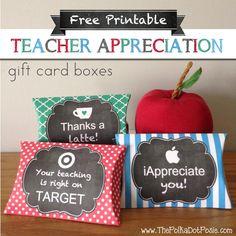 The Polka Dot Posie: Free Printable Teacher Appreciation Gift Card Boxes