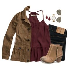 Burgundy peplum cami, dark denim & camel jacket