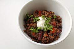 Anna-mad.dk Chili con carne with 3 kinds of chili, 2 kinds of beans and dark chocolate