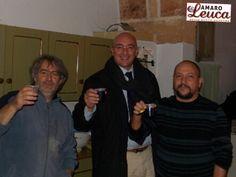 Mister Amaro di Leuca Saverio Scattaglia con i Tamburellisti Salvatore Crudo e Donato Nuzzo