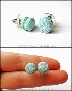 Snowflake Macaron Post Earrings by Bon-AppetEats on deviantART