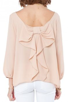 Sosie. Coletta Bow Blouse in Taupe.