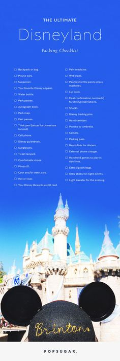 Everything you need to pack for Disneyland. Plan your Disney vacation today. It's a great destination for the family vacation and take the kids to see your favorite Disney characters. Viaje A Disneyland Paris, Disneyland 2017, Disneyland Secrets, Disney Secrets, Disneyland California, Disney Tips, Disney Fun, Disneyland Hacks, Disney Surprise