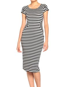 Striped Hour Glass Dress...not sure if this would emphasize the right places or not... Prob. Would not take a chance. Besides, I think it might give people headaches or cause a seizure!