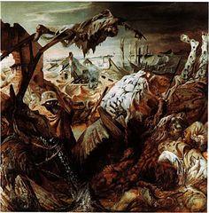 """""""참호""""  1923년에 그려진 작품. 1차 대전의 참호전을 지옥처럼 생생히 표현해냈다. 사회적으로 큰 논란이 되었던작품이다."""