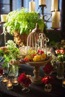 Using a bird cage with flowers - Style Me Pretty | Gallery