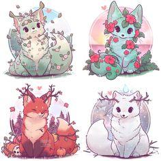 Cute Fantasy Creatures, Mythical Creatures Art, Cute Creatures, Cute Kawaii Animals, Cute Animal Drawings Kawaii, Cute Fox Drawing, Fox Art, Tier Fotos, Lord