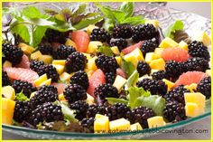 Catering by Debbi Covington's Green Salad with Fresh Fruit and Blackberry-Basil Vinaigrette from her NEW cookbook, Celebrate Everything!    www.cateringbydebbicovington.com    (Photography by Paul Nurnberg)