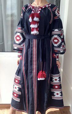 Embroidered dress boho style vyshyvanka navy color maxi dress women dress gift for her linen dress ljm White Embroidered Dress, Embroidered Clothes, Belted Shirt Dress, Navy Dress, Boho Fashion, Autumn Fashion, Ethnic Fashion, Bohemian Mode, Boho Style Dresses