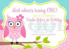 Printable Invitation - Look Whoooo's Having a Party OWL Invitations for GIRLS. $12.00, via Etsy.