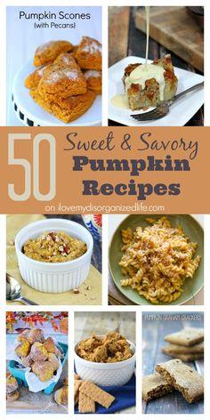 50 Sweet & Savory Pumpkin Recipes on {i love} my disorganized life