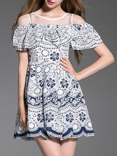 Elegant like Chinese blue and white porcelain. But at the same time the dress combines fashion with its ruffle A-line Dress.