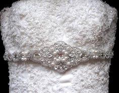 Bridal Wedding Dress Crystal Beaded Sash Belt by Tatishotties, $175.00