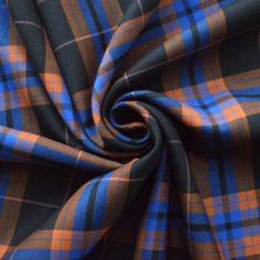 Orange Blue and Black British Yorkshire Wool Mix Tartan Suiting Fabric Plaid Fabric, Wool Fabric, Kilt Accessories, Fabric Board, Scottish Kilts, Tartan Pattern, Fabric Shop, Dog Coats, Blue Orange