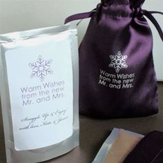 Warm Wishes Satin Bag Beverage Favors.  Choose from Apple Cider, Cappucino, Chai Tea or Hot Cocal.  Perfect for #weddings  as low as $1.75 each
