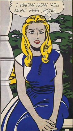 Roy Lichtenstein 1963 - I KNOW, BRAD... - Oil on canvas (168 x 96 cm). Pop art #USA #Painting @deFharo