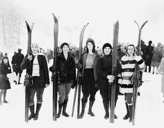 """Must. have. these. boots. """"Five women posed with skis, Leavenworth, Washington"""" 