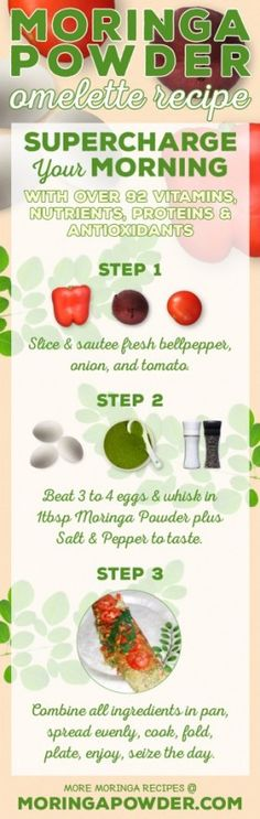 Moringa Powder Omelette Recipe with Profound Health Benefits Healthy Foods To Eat, Healthy Eating, Healthy Recipes, Healthy Snacks, Benefits Of Moringa Leaves, What Is Moringa, Moringa Recipes, Ayurvedic Recipes, Moringa Powder