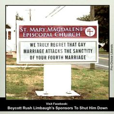 We truly regret that gay marriage attacks the sanctity of your fourth marriage. #feminism #progressive