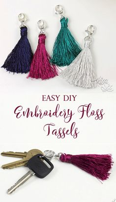 A single skein of embroidery thread is all it takes to make these cute tassels. Perfect for keychains, zipper pulls, home decor or even cell phone dangers. SUPER EASY TO MAKE Diy Embroidery Floss Tassel, Dmc Embroidery Floss, Embroidery Kits, Embroidery Floss Projects, Crochet Keychain, Diy Keychain, Tassel Keychain, Keychain Ideas, Mollie Makes
