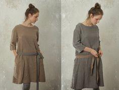 Leinen / Wolle Tunika-Kleid mit verpflichtet von KnockKnockLinen