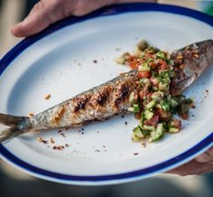 BBQ Pilchards Recipe with Cucumber, Tomato and Caper Relish - Cornish Sea Salt Company Cucumber Recipes, Asparagus, Seafood, Bbq, Vegetables, Sea Salt, Sea Food, Barbecue, Studs