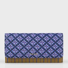 Paul Smith Women's Purses | Mustard And Blue Pyjama Print Tri-Fold Leather Purse