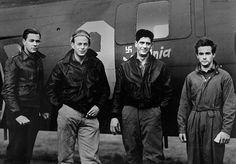 World War II, Four American airmen who were among seven surviving the crash of their Flying Fortress in the North Sea on the return trip from a bombing missing over Hamm, Germany, circa 1943.