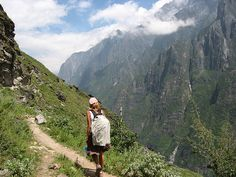 Caz during our hike of the Tiger Leaping Gorge in China