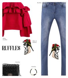 """NewChic"" by s-thinks ❤ liked on Polyvore featuring Erika Cavallini Semi-Couture, Dolce&Gabbana, ootd and ruffledtops"