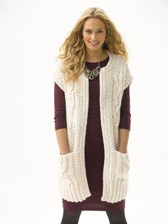 Cabled Topper With Pockets Pattern (Knit)