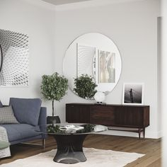 Front view of Large Round Mirror in Scandinavian Apartment
