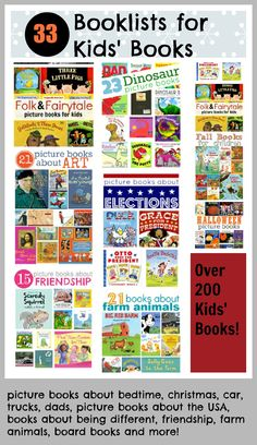 picture books about bedtime, christmas, car, trucks, dads, picture books about the USA, books about being different, friendship, farm animals, board books