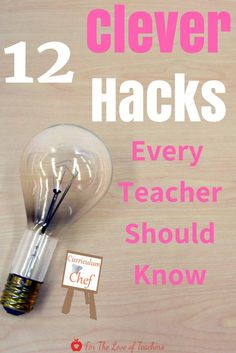 12 Clever Teacher Hacks Every Teacher Should Know- Need ideas for working smarter, not harder? The Curriculum Chef has cooked up and served 12 useful teacher hacks that every teacher should know. Read it at For The Love of Teachers #teacher #teachers #teaching #teacherhacks #hack #hacks #fortheloveofteachers
