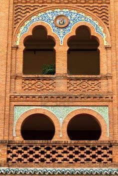 Architectural details with tile in Plaza de Toros de Las Ventas, Madrid, Spain.