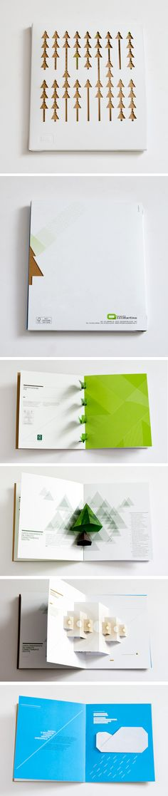 Excellent use of paper illustration in graphic design! Portfolio for the printing company, Tipografia San Martino. By Italian graphic design agency, Kalimera. Booklet Design, Book Design Layout, Print Layout, Book Cover Design, Brochure Design, Pop Up, Web Design Mobile, Design Editorial, Paper Engineering
