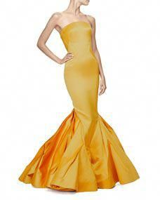 Zac Posen Strapless Fitted Gown W/Trumpet Skirt, Marigold - ShopStyle Evening Dresses Yellow Dress Summer, Yellow Gown, Zac Posen, Satin Dresses, Strapless Dress Formal, Trumpet Skirt, Yellow Fashion, Mellow Yellow, Ladies Dress Design