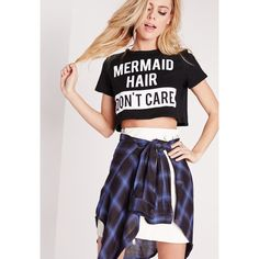 Missguided Petite Exclusive Slogan Crop Tee Mermaid Hair ($20) ❤ liked on Polyvore featuring tops, black, petite tops, crop top and relaxed fit tops