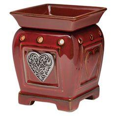 Heartfelt Scentsy Warmer PREMIUM    Heartfelt's ornate silver medallion floats in a glossy red sea of embossed hearts.