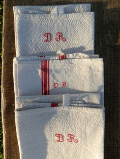 3 French Tea Towels  French Vintage Linen Metis and by GoshnPoche, $60.00