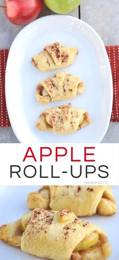 Just a few simple ingredients are needed to make these delicious apple roll ups! A yummy recipe perfect for all those fall apples picked at the orchard! Apple Recipes For Kids, Fall Recipes, Simple Apple Recipes, Apple Ideas, Pie Recipes, Baking Recipes, Healthy Apple Desserts, Apple Dessert Recipes, Fall Appetizers