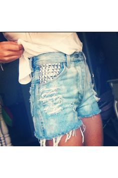 High waisted jean shorts with studs