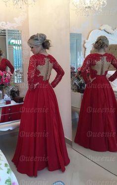 Günstiges langes rotes Satin Spitze Ballkleid Abendkleid LFNDB0017-Queeniekleid.de