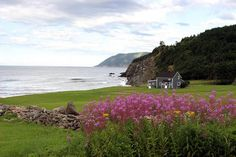 Panoramic view along the coastline near Meat Cove Area of Cape Breton Island