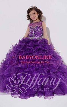 New Arrival 2015 Glitz Purple Flower Girl Dresses Ball Gown Beads Sequins Organza Ruffles Little Girls Pageant Dresses